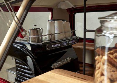 Pop Up Kombi Coffee Glassed Close Look Inside Red Branded Kombi Car