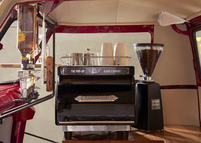 Pop Up Kombi Coffee Machine & Coffee Mugs Inside Red Branded Kombi Color