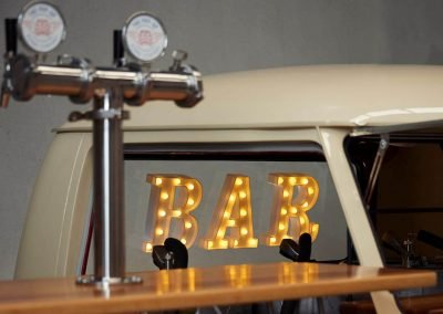 Pop up kombi gallery home with BAR lettering