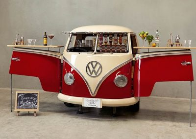 Pop Up Kombi Red Branded Kombi Coffee Services Side View