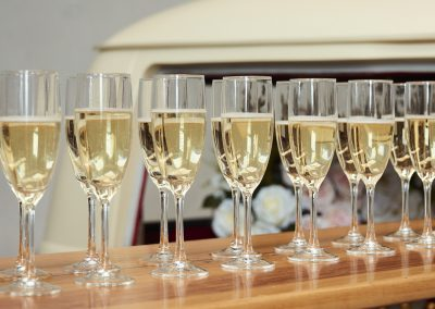 Pop Up Kombi Wedding Gallery Champagne Glasses On Table
