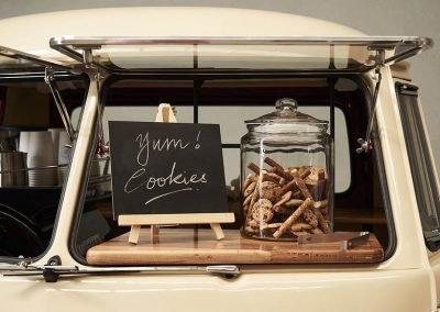 Pop Up Kombi Yum Cookie Jar Inside White Branded Kombi Van slider Closer View