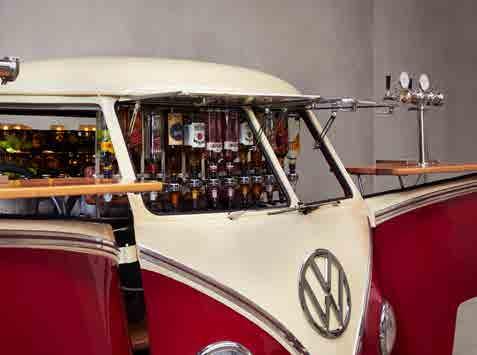 Pop Up Kombi Mixed Bar Red Van Left Side View