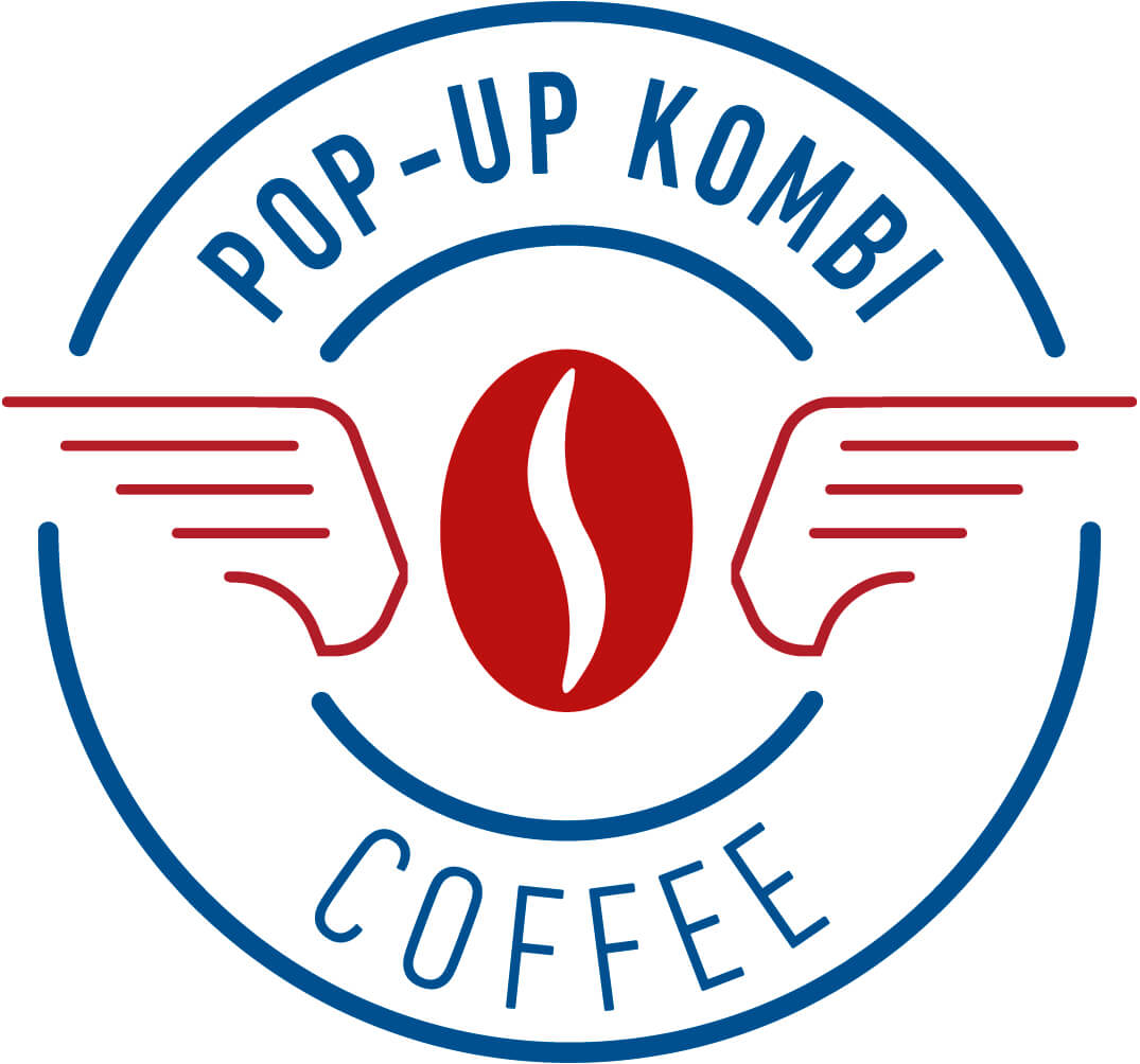 Pop Up Kombi Coffee Red & Blue Logo